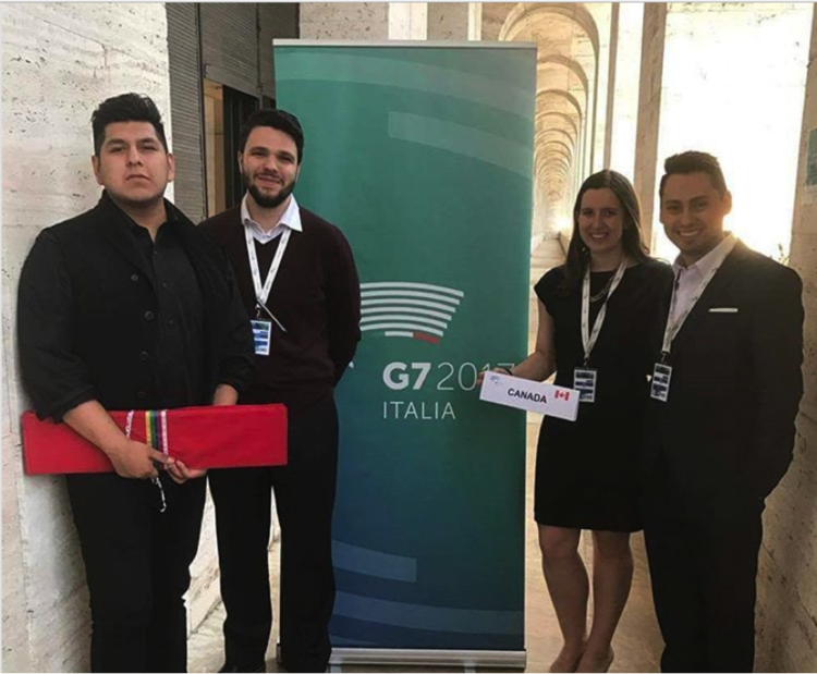The Canadian Delegation at the Y7 (from left to right) Waabishkigaabo (Will Landon), Sébastien Daviault, Heather Evans and Miguel A Rozo.