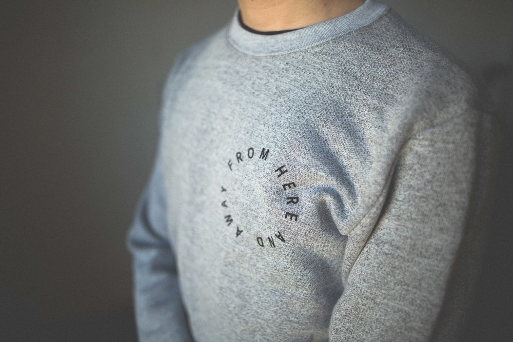 From H  ere and A  way. C  lothing made in Canada. E  thical clothing brand and photography collective based in Winnipeg. Marled White crewneck