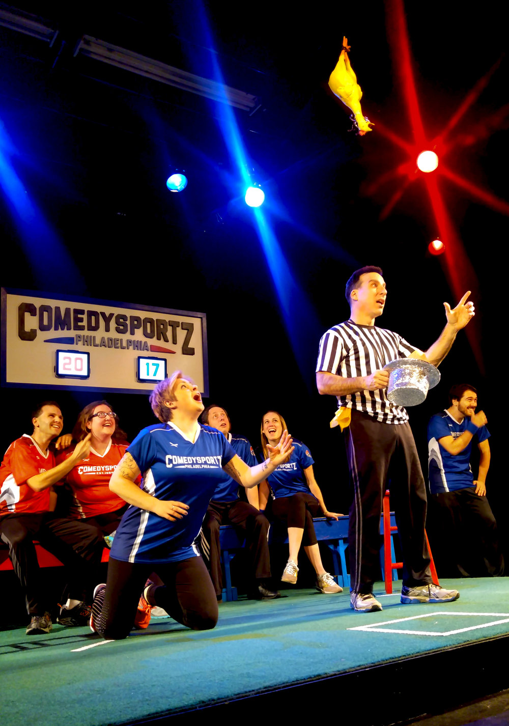 The ref and Players from ComedySportz celebrate New Year's @ ComedySportz Philadelphia