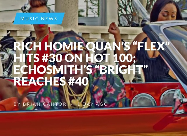 Rich Homie Quan continues to climb on the Billboard 100. Check out the article here at www.headlineplanet.com and you can still download single on iTunes.