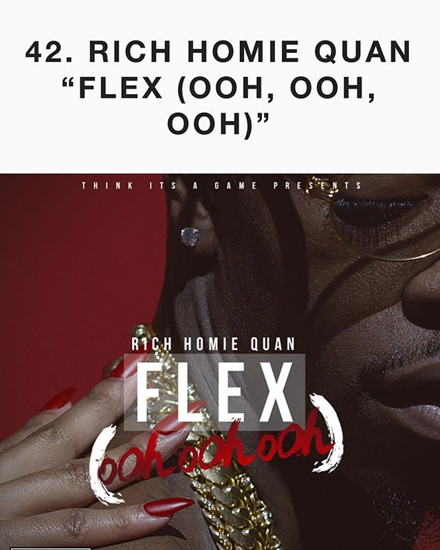 "Congratulations @richhomiequan for making @complex's Top 50 songs list for Number 1 Urban Record ""Flex"" #thinkitsagamerecords #thinkitsagame"