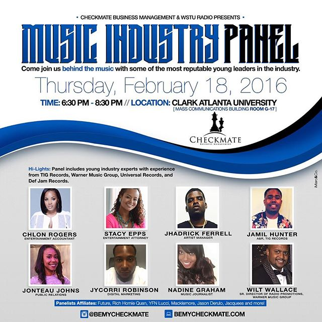 "if you're in the Atlanta area, make sure you go check out this panel, some of our label's very own will be there to share the what(s), how(s) and when(s) about the music industry"". Don't miss it. #tigrecords #checkmatebusiness #bemycheckmate"