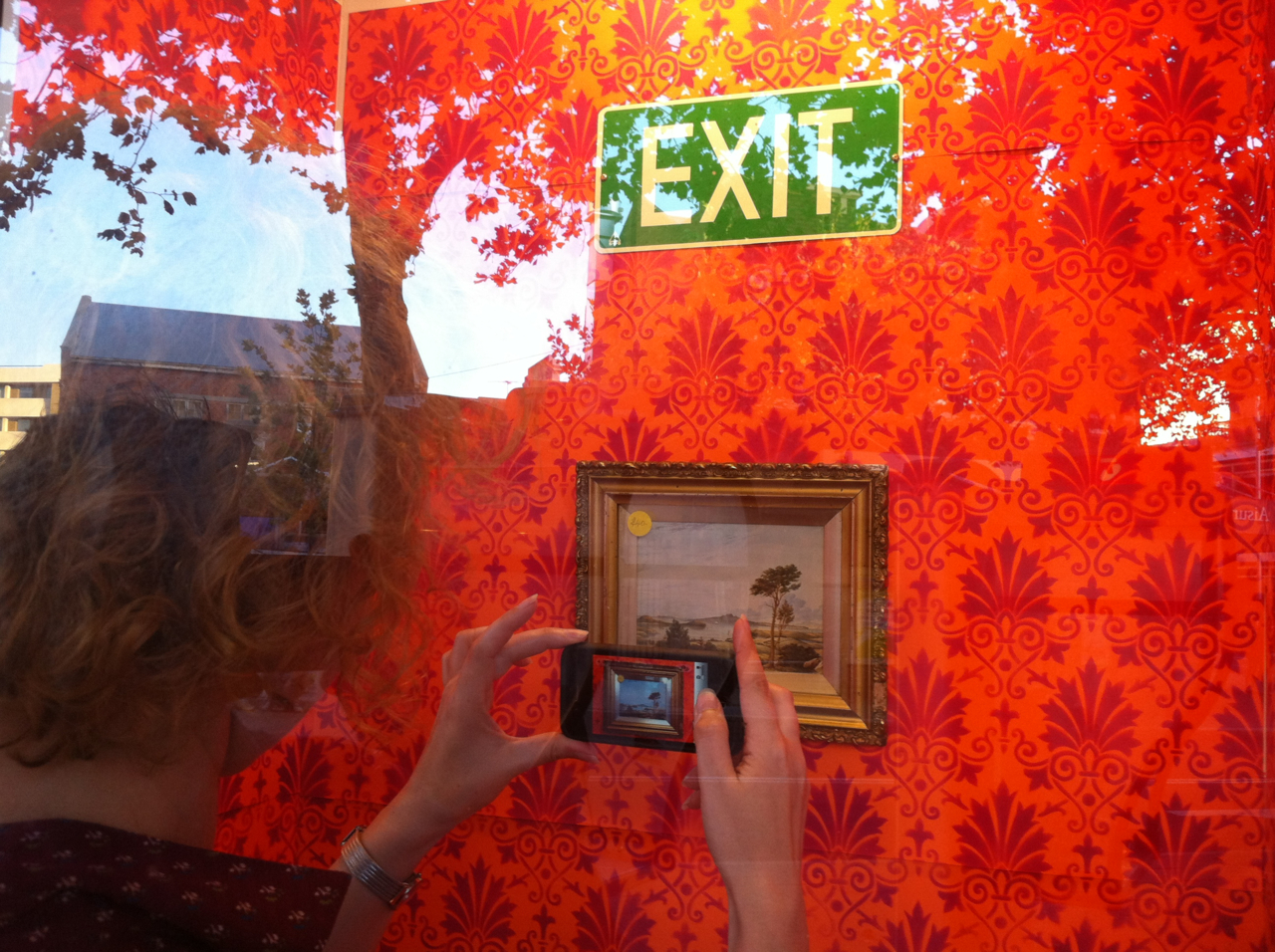 Exit Stencilists: Enter through the Window.   An evolving installation in the Peekaboo Gallery for the course of Fringe World, Perth.   Updated daily, 26 Jan to Feb 19th, 2012.   Click through image for website….