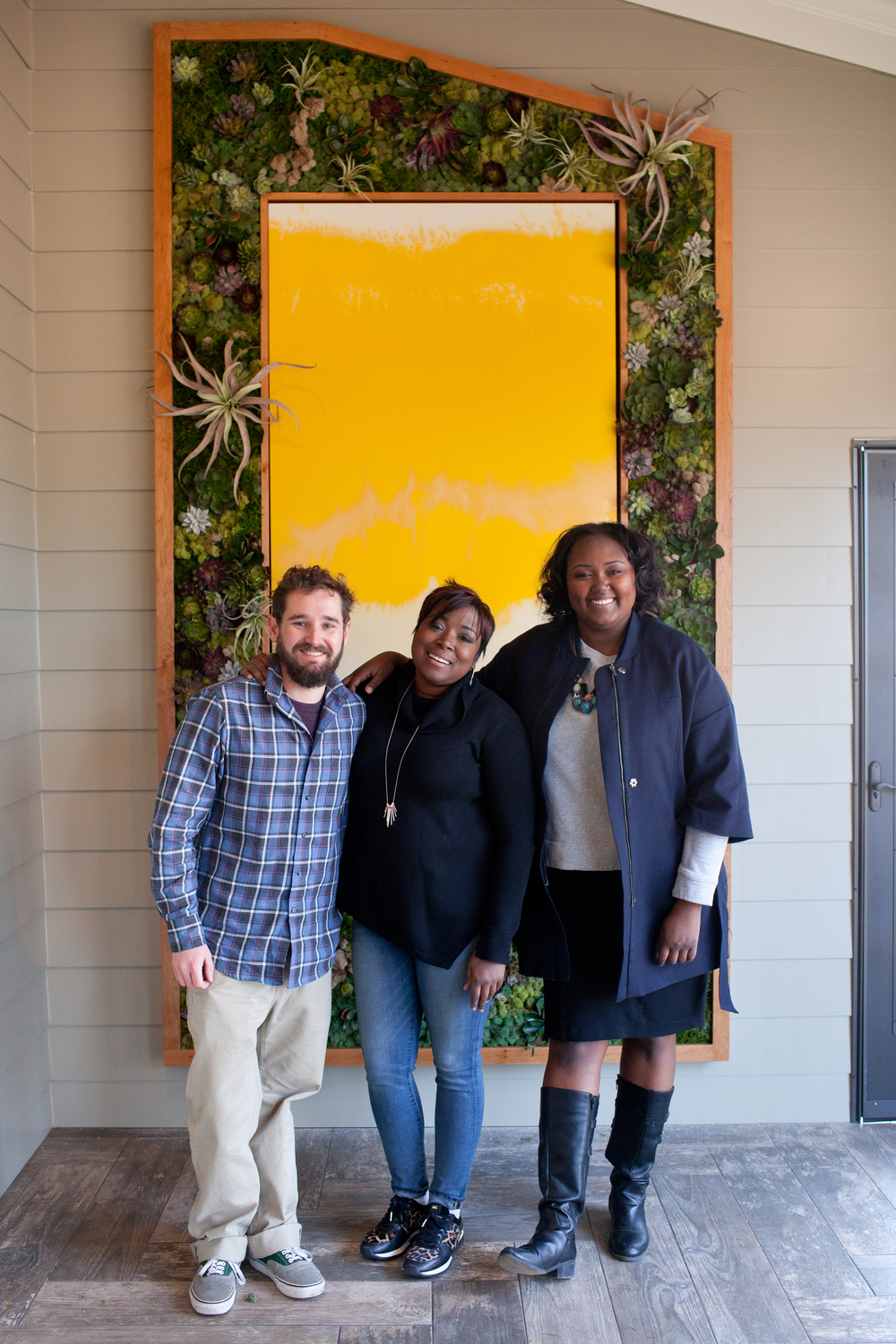 Jackson Harris of Harris Farms Farmworks  (left) and Megan George of the ZEN Succulent (right) along with HGTV Host Tiffany Brooks (center)  | Photo by Allie Mullin of Allie Mullin Photography
