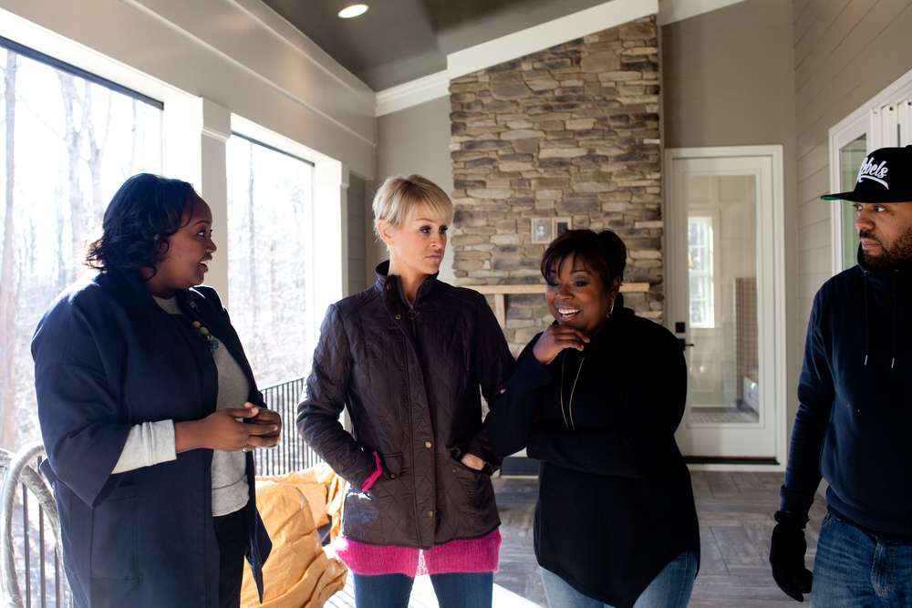 Megan of the ZEN Succulent (far left) talking with HGTV Host Tiffany Brooks (middle right) and HGTV Design Team about the project  | Photo by Allie Mullin of Allie Mullin Photography