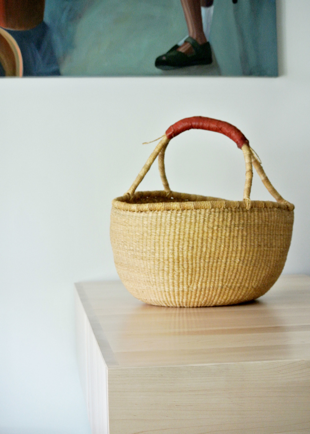 Fair Trade Natural Woven Basket With Leather Handle — The Zen ...