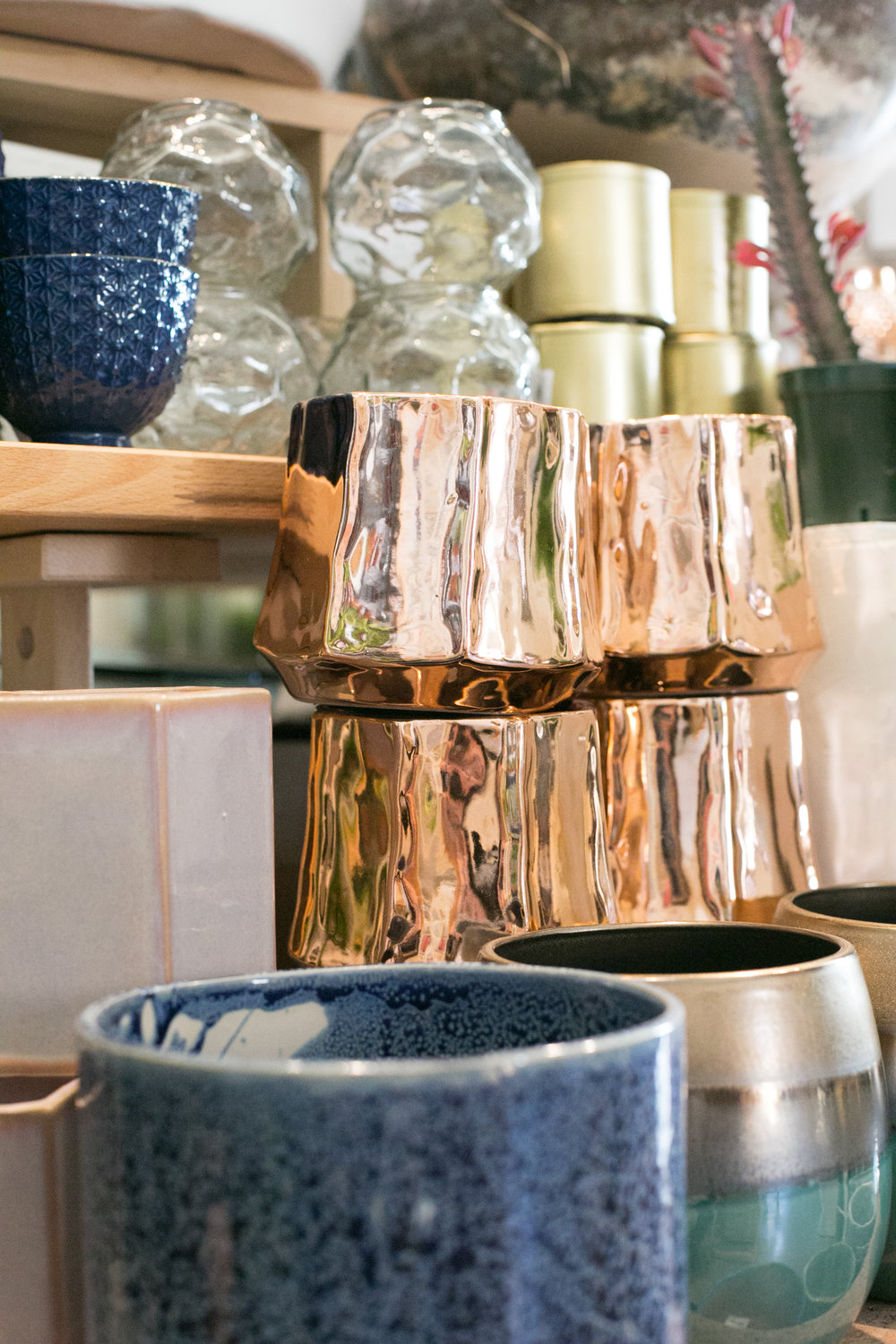 We offer a wide selection of planters, from small and sparkly to big and funky.