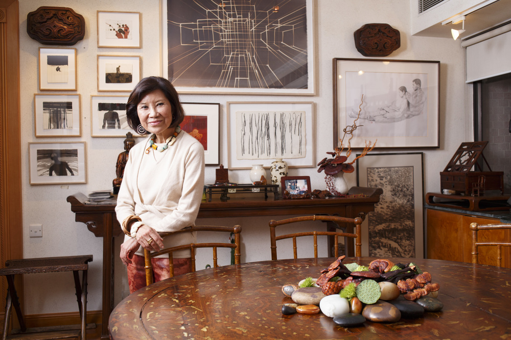 Kai-Yin Lo, Jewelry and Accessories Designer, Art and Cultural Advisor. Photographed at her home.