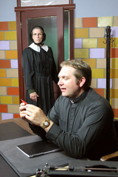 Sister Aloysius (Patti Hynes-McCarthy) and Father Flynn (Anthony R. Johnson)