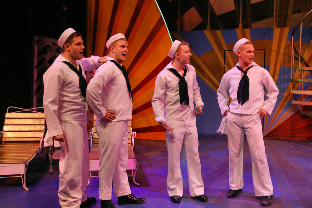 "Armando Ronconi (far left) in ""Anything Goes"" as part of the sailor quartet"