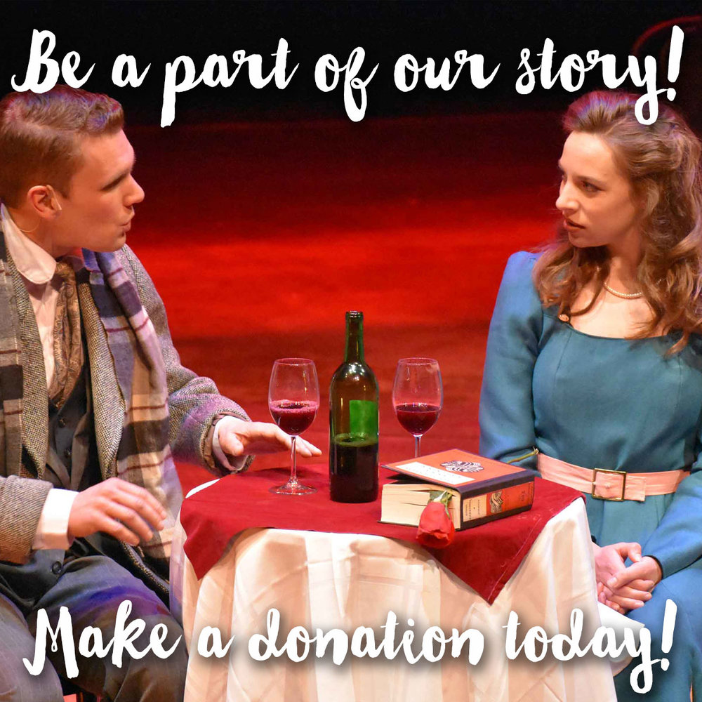 "Make a Donation Today - Make a donation before June 30, and we'll enter you into a drawing for a ""dinner and a show"" prize package including a $100 gift card to Pour! Wine Bar and Bistro, and two tickets to a Lyric Arts show."