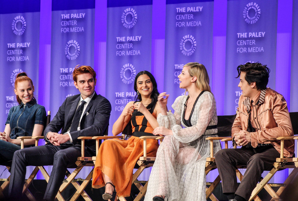 from left to right: Madelaine Petsch (Cheryl), KJ Apa (Archie), Camila Mendes (Veronica), Lili Reinhart (Betty), and Cole Sprouse (Jughead)