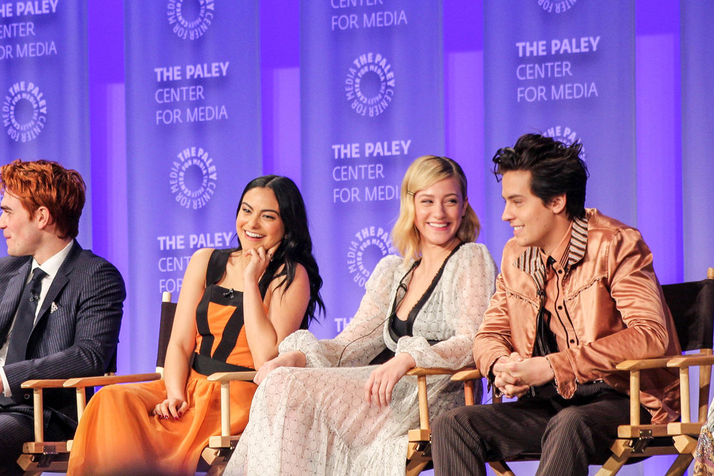 from left to right: KJ Apa (Archie), Camila Mendes (Veronica), Lili Reinhart (Betty), and Cole Sprouse (Jughead)