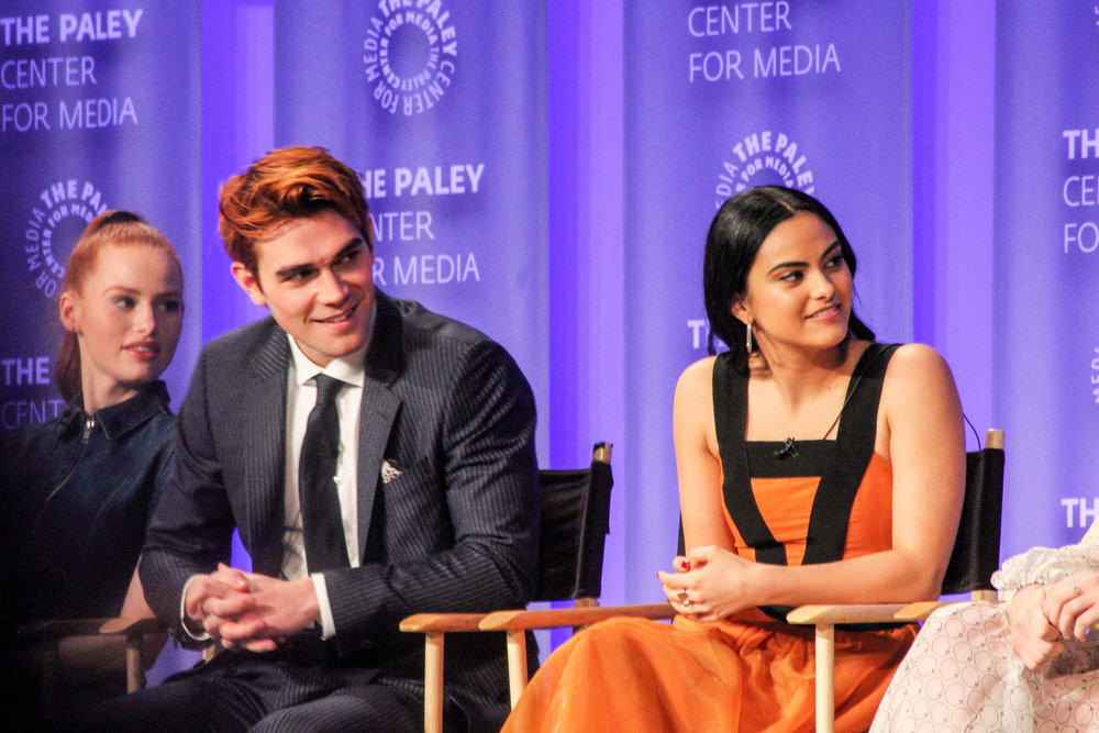 from left to right: KJ Apa (Archie), and Camila Mendes (Veronica)