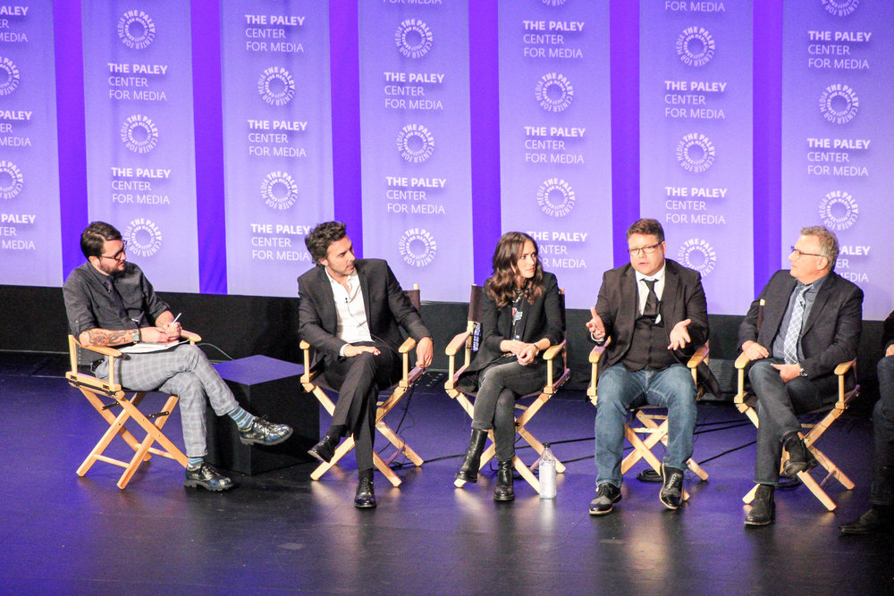 from left to right: executive producer and director Shawn Levy, Winona Ryder (Joyce Byers), Sean Astin (Bob Newby), and Paul Reiser (Dr Sam Owens)