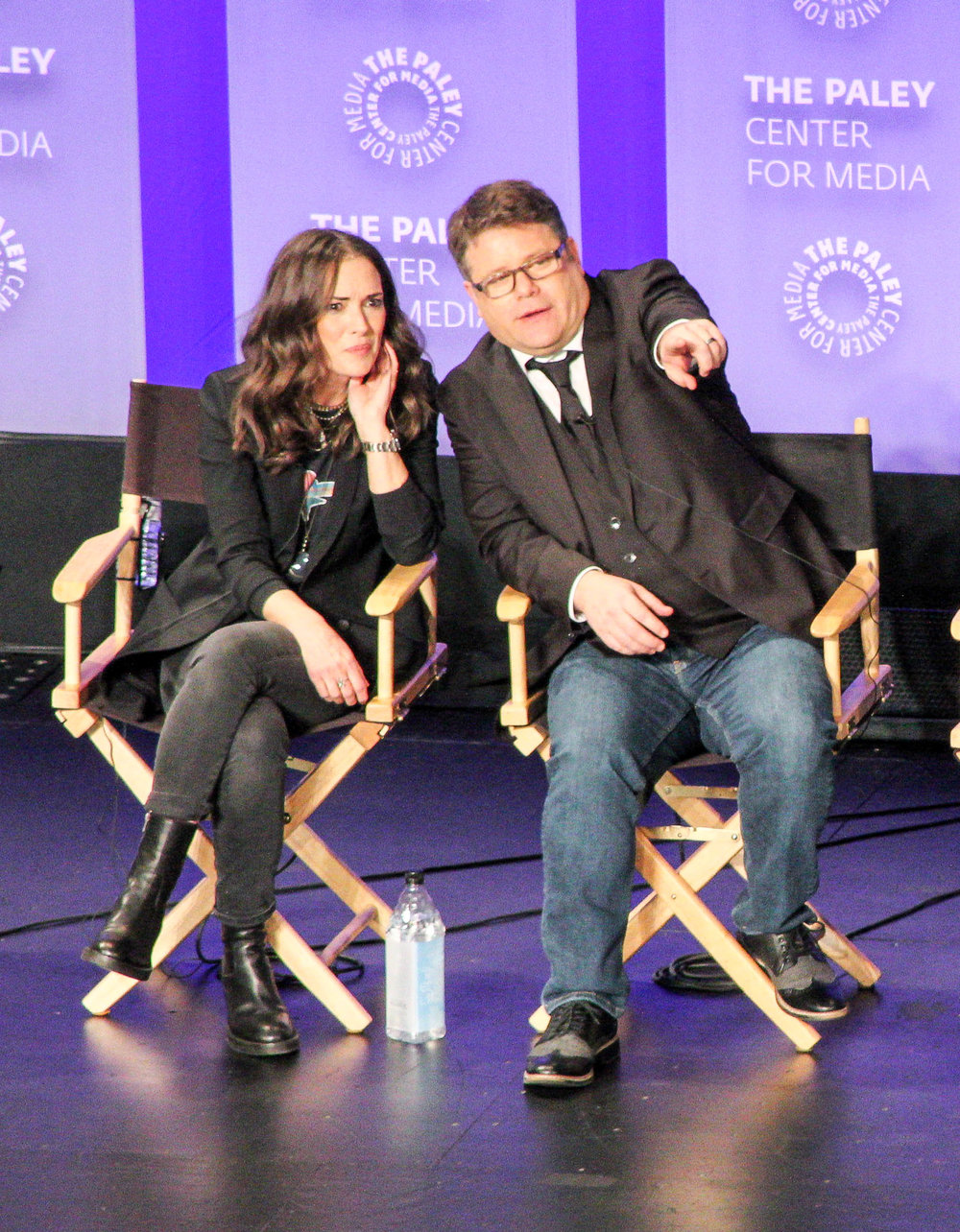 from left to right: Winona Ryder (Joyce Byers), and Sean Astin (Bob Newby)