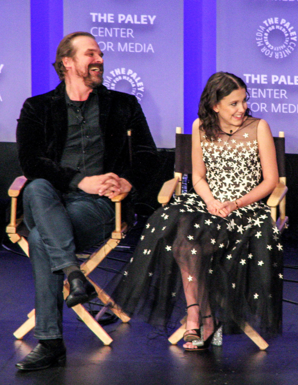 From left to right: David Harbour (Jim Hopper), and Millie Bobby Brown (Eleven/Jane Hopper)