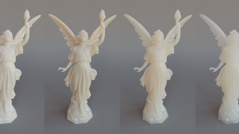 The new technique isnot just for rendering clouds. It allows artists to explore a wider range of appearances forall materials that exhibit some amount of translucency, like this marble statue.