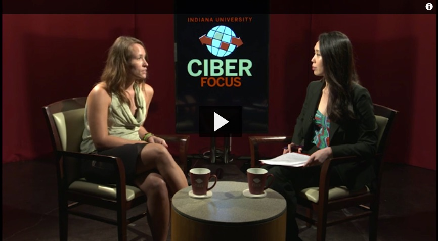 Katie Beck talks with Sara Ko at the Kelley School of Business in Bloomington, Indiana, on September 15, 2015.