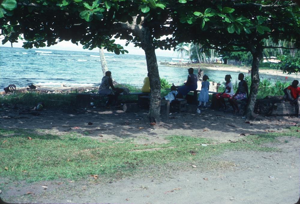 DM_001_001    People hanging out under sea almond tree    Puerto Viejo    4/5/1981    People hanging out under the trees in Puerto Viejo