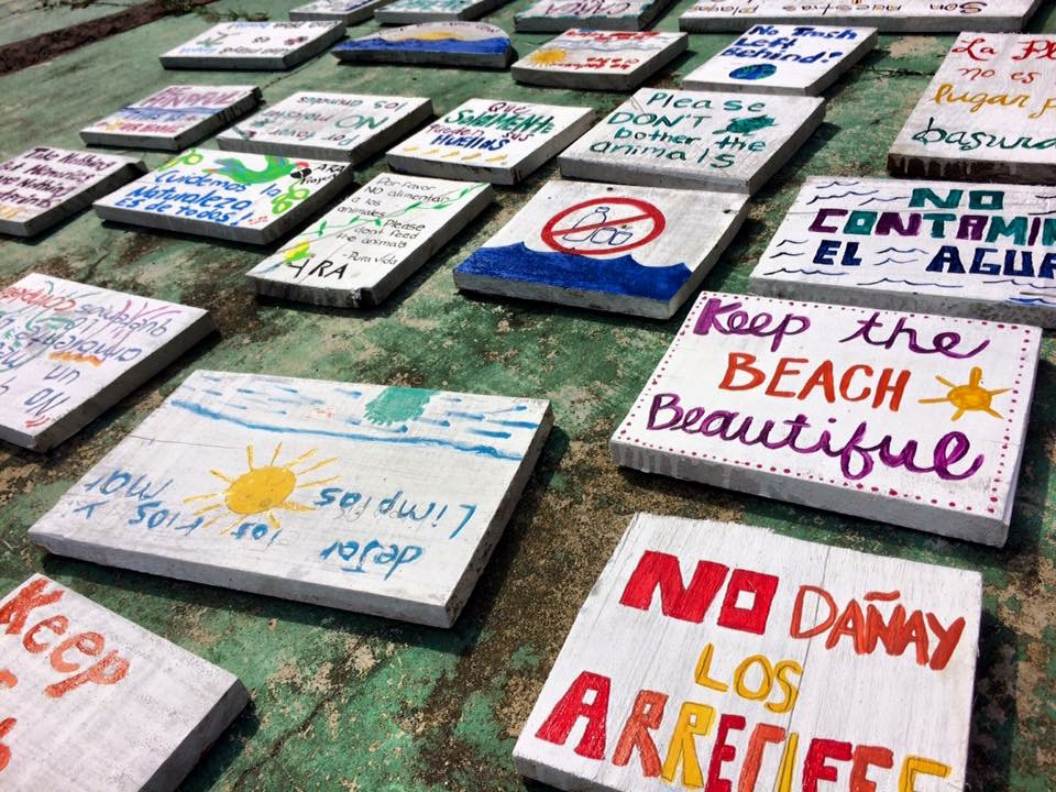 Beach signs left behind in Punta Uva by ABP 2016.