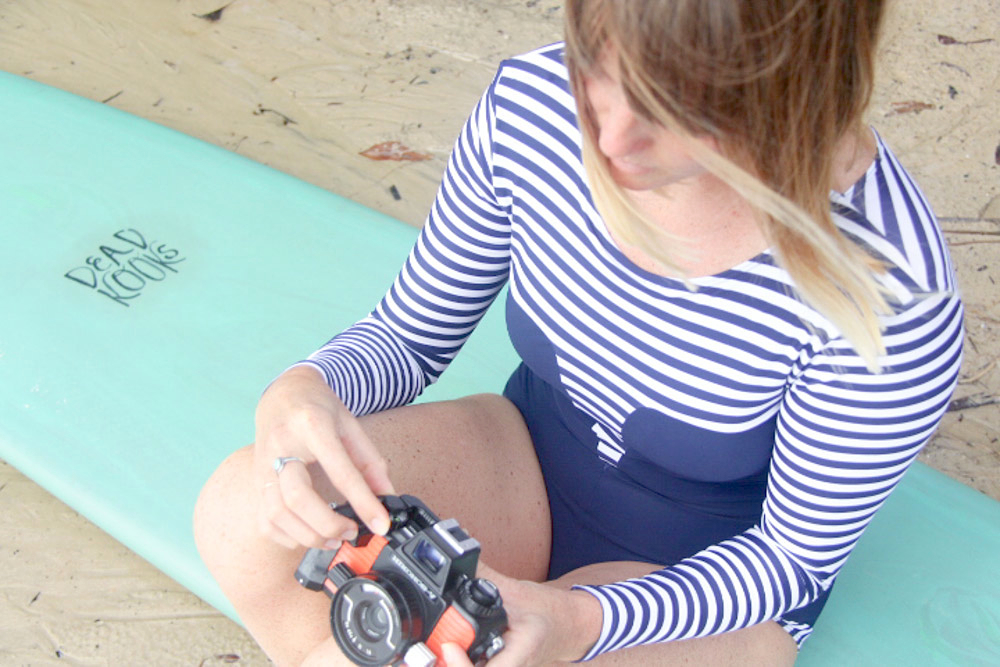 Anrielle wearing the Lafitenia Surfsuit French Sailor
