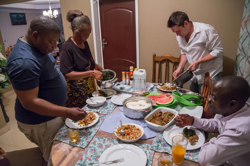 Family dinner with Shima and traditional Zambian food