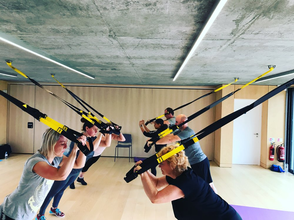 A full-to-capacity TRX workshop
