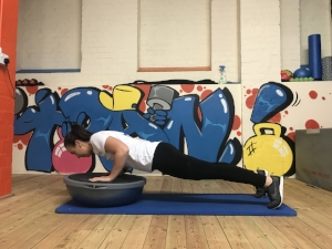 Try to keep the Bosu still throughout movement