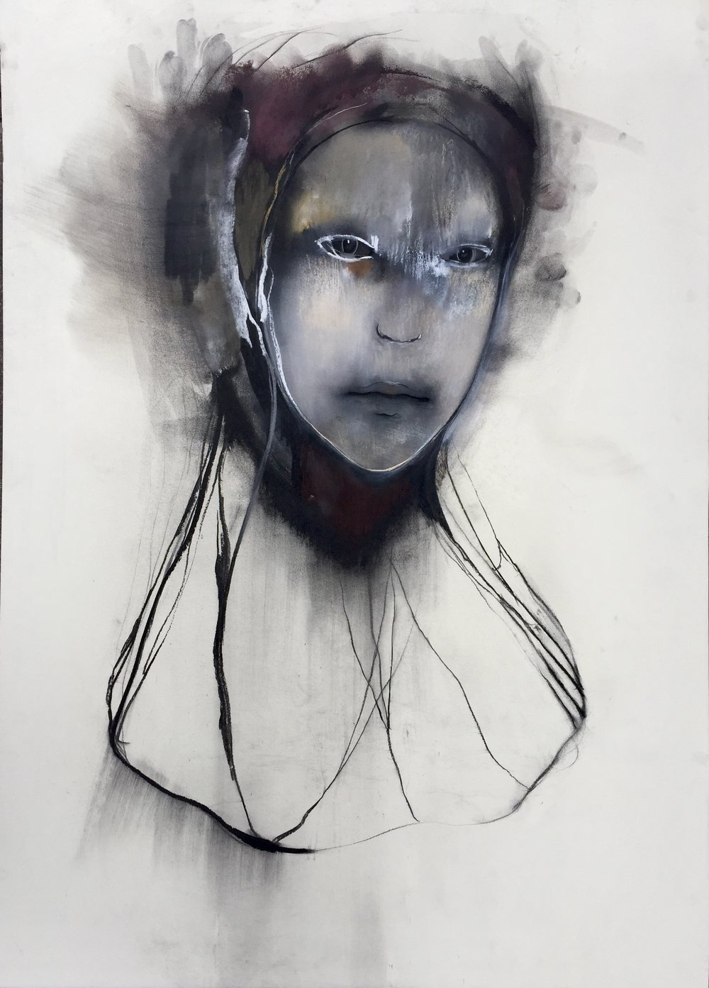 Persona , 146 x 107 cm. Charcoal and pastel on paper, 2018