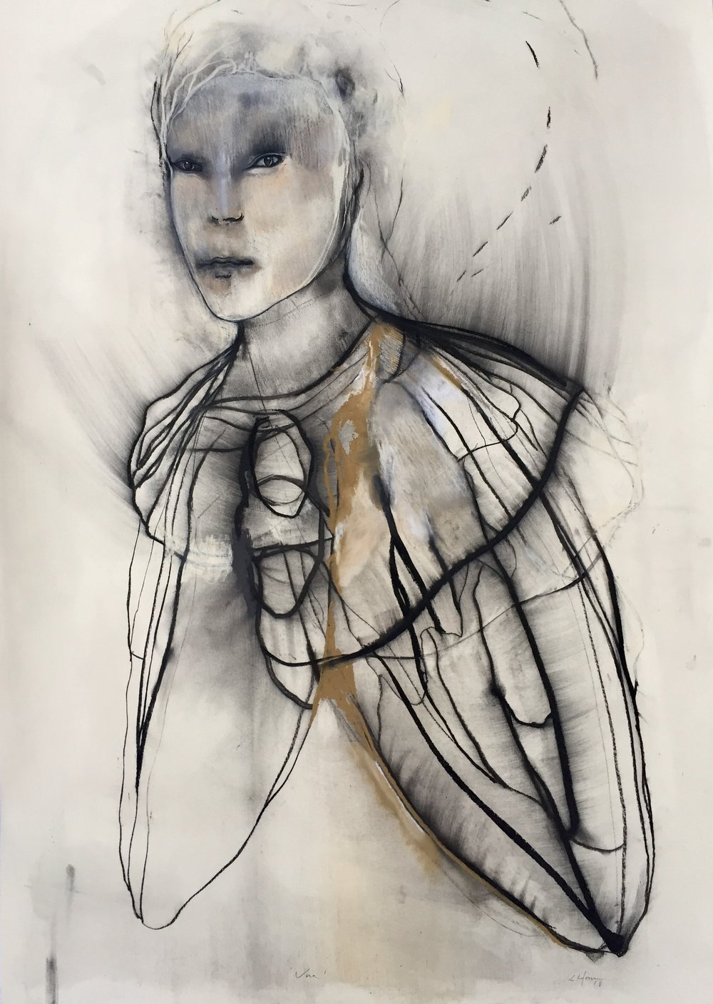 Una ,146 x 107 cm. Charcoal and pastel on paper, 2018