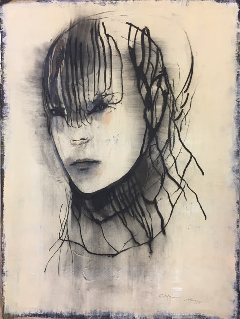 Edda, 90 x 120 cm. Charcoal and pastel on paper, 2019
