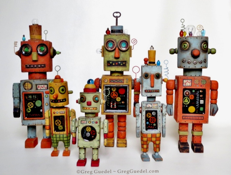 Greg Guedel vintage tin toy robot assemblages