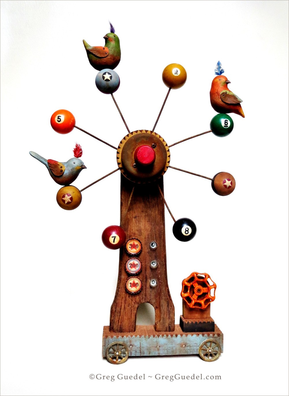 Greg Guedel Fortune Wheel folk art toy assemblage from carved wood birds and found and vintage objects