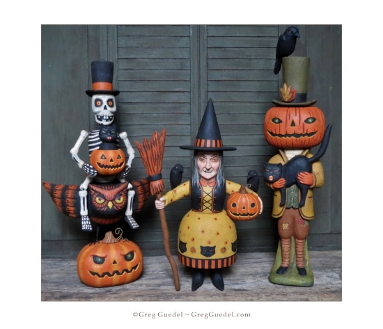 Greg Guedel Halloween wood carvings