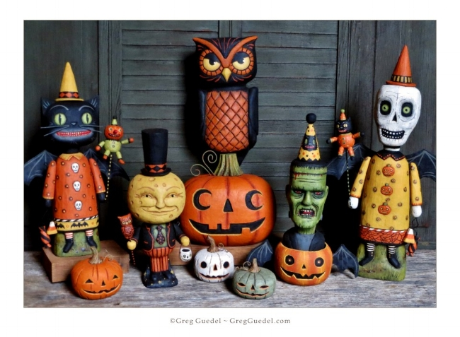 Greg Guedel ~ Halloween wood carvings 2017.JPG