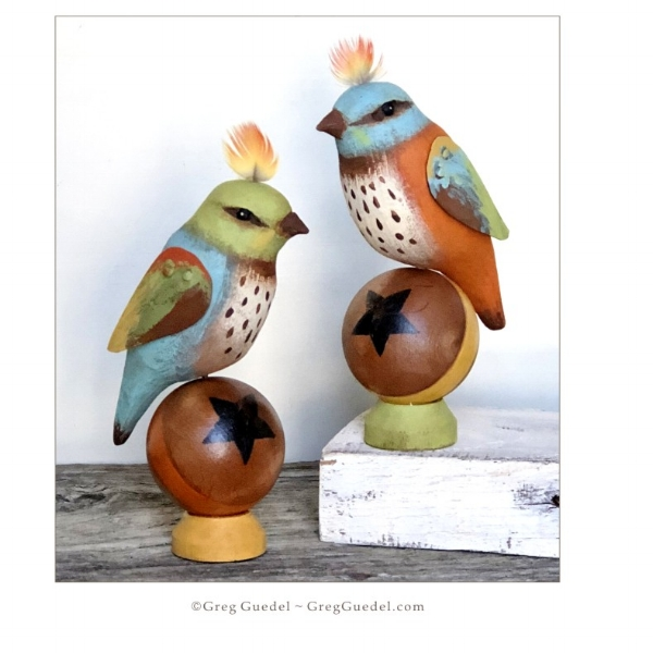 folk art birds on ball by Greg Guedel.JPG