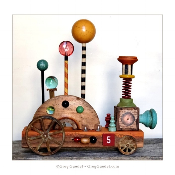 Engine number 5 ~ folk art assemblage train by Greg Guedel..JPG