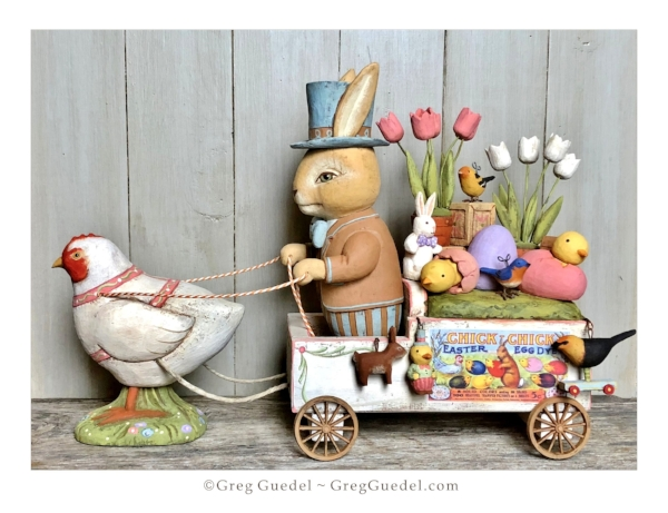 Greg Guedel ~ Easter wagon wood carving.JPG