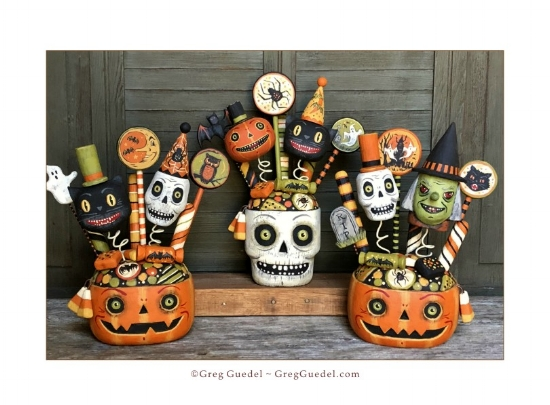 Halloween candy cups wood carvings by Greg Guedel.JPG