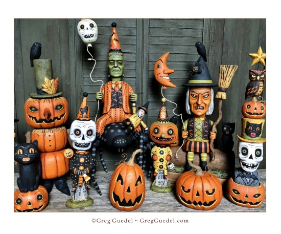 Halloween wood carvings by Greg Guedel.JPG