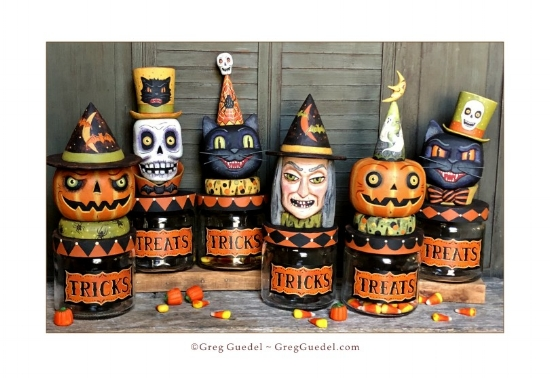 Halloween candy jars wood carvings by Greg Guedel.JPG