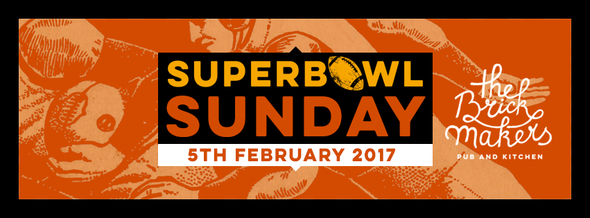 Superbowl Sunday 2017 in Authentic American BBQ Atmosphere!! Join us for the NFL season's 2016/17 final game! The game will be shown on all our TVs and our brandnew big screen. Our specials include: Homemade Hotdog & 0,5l Pilsner Urquell or Goldfassl Spezial for €14,90 Low n' Slow Buche Smoked Baby Back Ribs & 0,5l Pilsner Urquell or Goldfassl Spezial for 14,90€ For this occassion our kitchen will stay open until 2am. Book your table now through info@brickmakers.at ~~~~~~~~~~~~~~~~~~~~~~~~~~~~~~~~~~~~~~~~~~~~~~~~~~