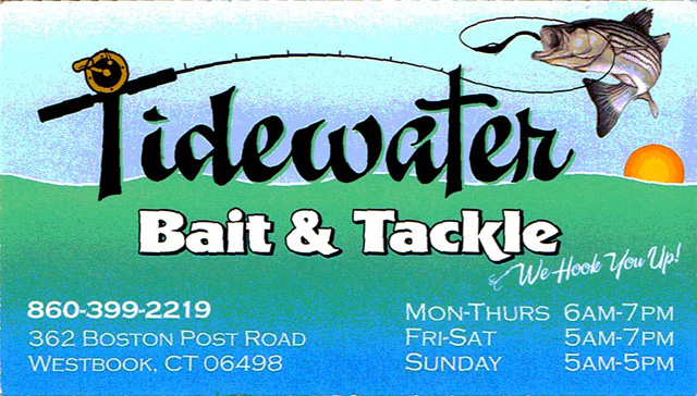Tidewater Bait & Tackle  362 Boston Post Road  Westbrook, CT  06498  Owner:  Peter Palmieri   Website:    Tidewater Bait and Tackle Company
