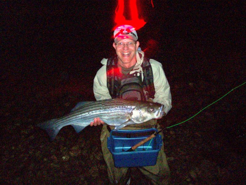 Steve Culton with a beautiful stripe caught on Block Island.