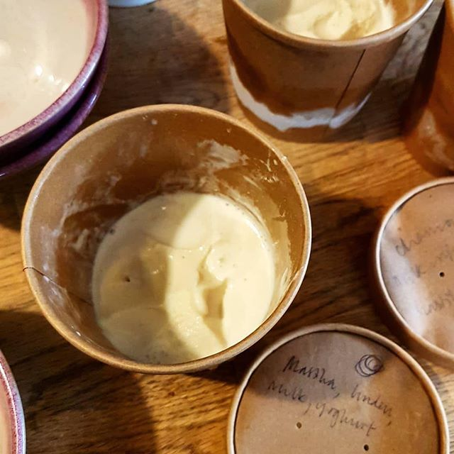 Have been working on variations of Greek yoghurt ice cream for the magical @pan_ldn, unanimous favourite is infused with mastiha tears from Chios and linden picked and dried by Despina's grandma :') such an evocative taste... tramping on gently sun-warmed, rocky hilltop, goats trip-trapping amongst scrub and craggy boughs heaving with fuzzy blossoms. Truly! Ice cream can be wonderful witchery... #Repost @pan_ldn with @get_repost ・・・ Not the prettiest photo taken during our ice cream testing earlier today... but this is incredibly delicious. Sarah @osinskyicecream has created a unique  ice cream flavour  to go with our homemade quince preserve. Yoghurt, mastiha and linden (handpicked by my grandma). Thanks a million Sarah, you are a star! I can't wait to share this with you on Thursday.  #foodsharing #pangreek #pangatherings #slowfood  #goodsimplefood #simpleisnteasy  #ingredientstasteofwhattheyare #atmytable #feedfeed  #womeninfood #foodtraditions #celebratefood #foodmemories #greekfood #eatlikeapeasant