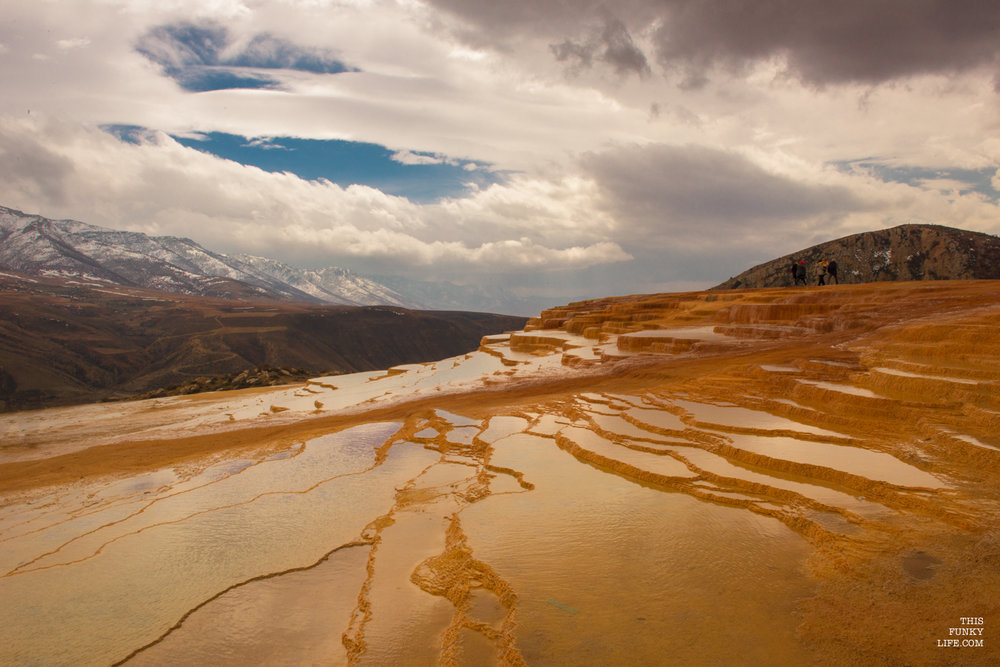 Formed over thousands of years, as flowing water from mineral hot springs cooled and deposited layers of minerals on the mountainside | Badab Surt, Mazandaran Province, Northern Iran