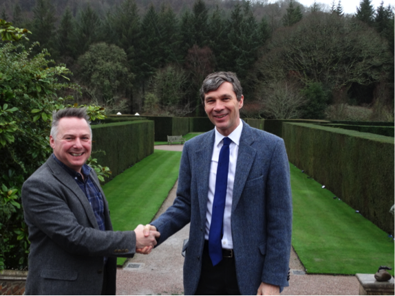 Steve Bowyer (left) for RHS Garden Rosemoor with Atkins Ferrie's John Waldie