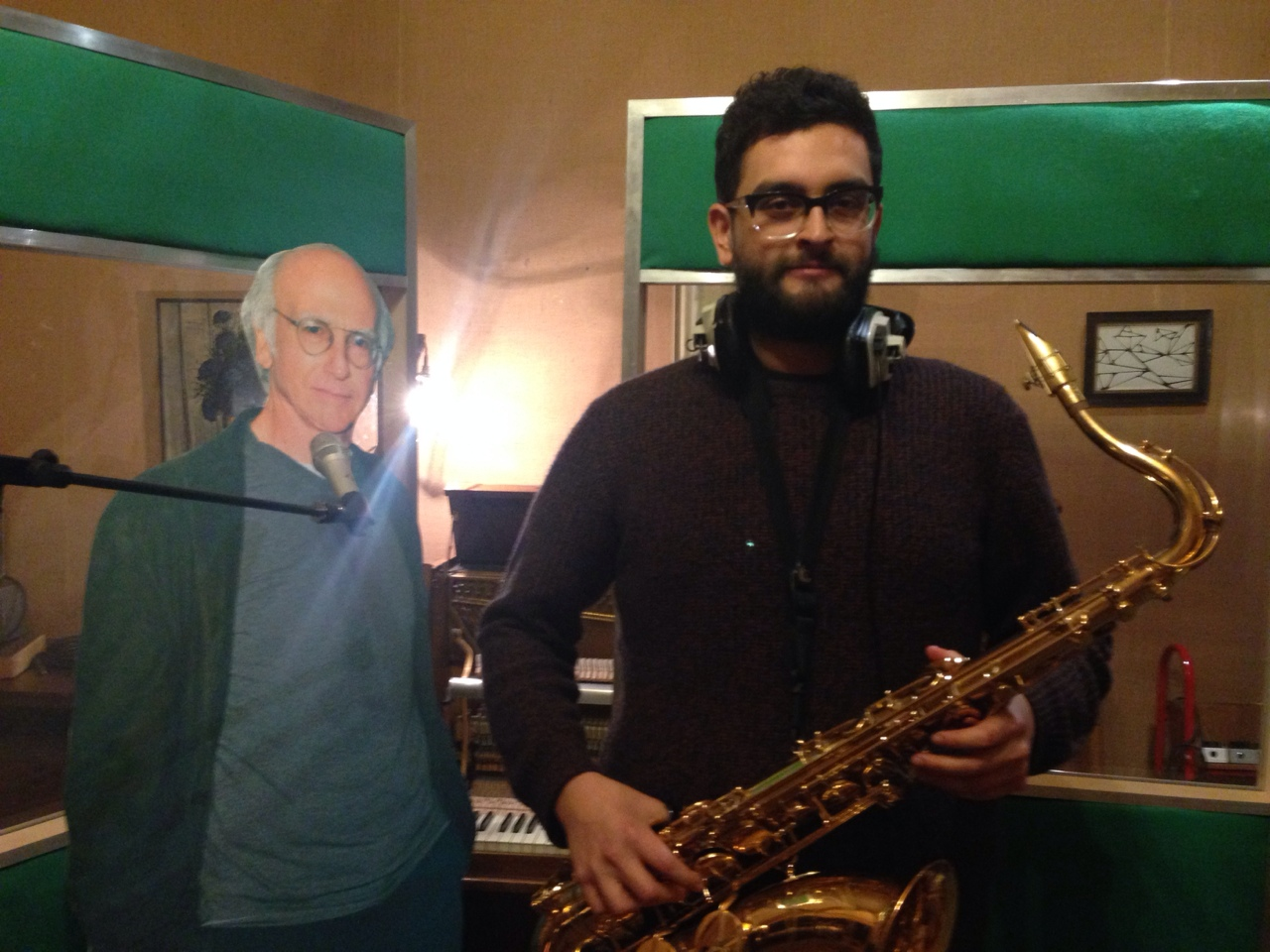 Larry David popped in to help Louis out with the brass