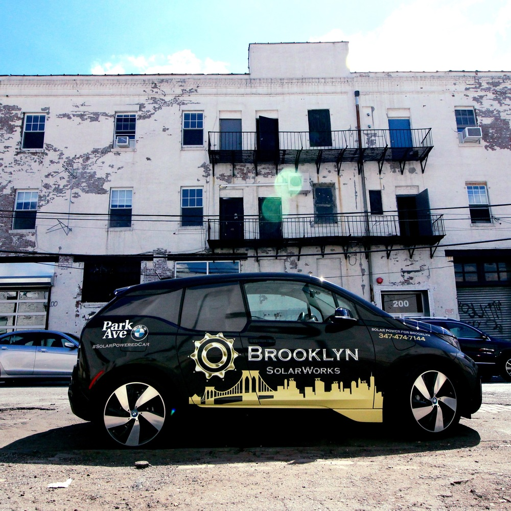 Solar powered car in front of the Brooklyn SolarWorks office in Gowanus, Brooklyn.